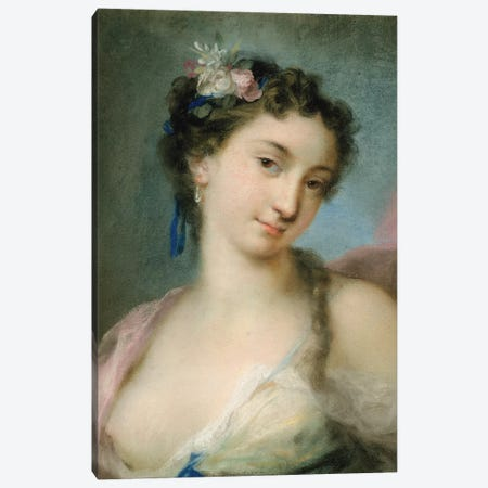 Portrait Of A Lady As Flora Canvas Print #BMN8123} by Rosalba Giovanna Carriera Canvas Art Print