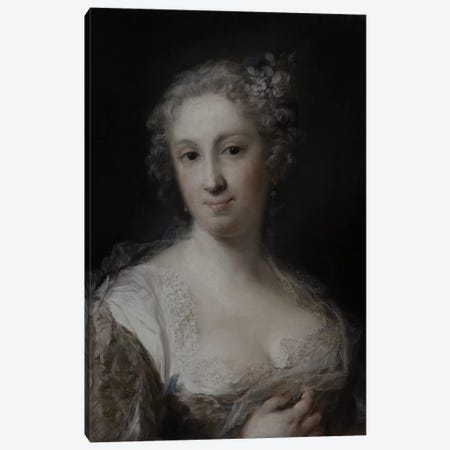 Portrait Of A Lady, c.1730-40 3-Piece Canvas #BMN8124} by Rosalba Giovanna Carriera Canvas Artwork