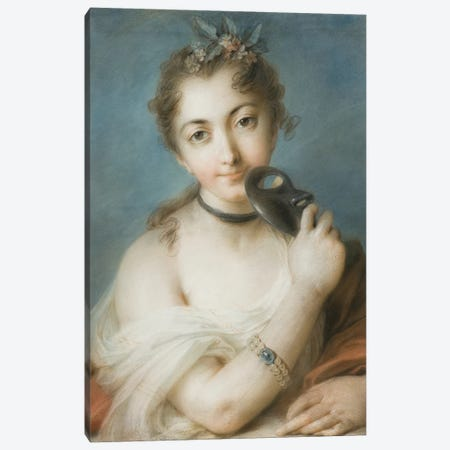 Portrait Of A Woman With Mask, c.1720-30 3-Piece Canvas #BMN8127} by Rosalba Giovanna Carriera Canvas Artwork