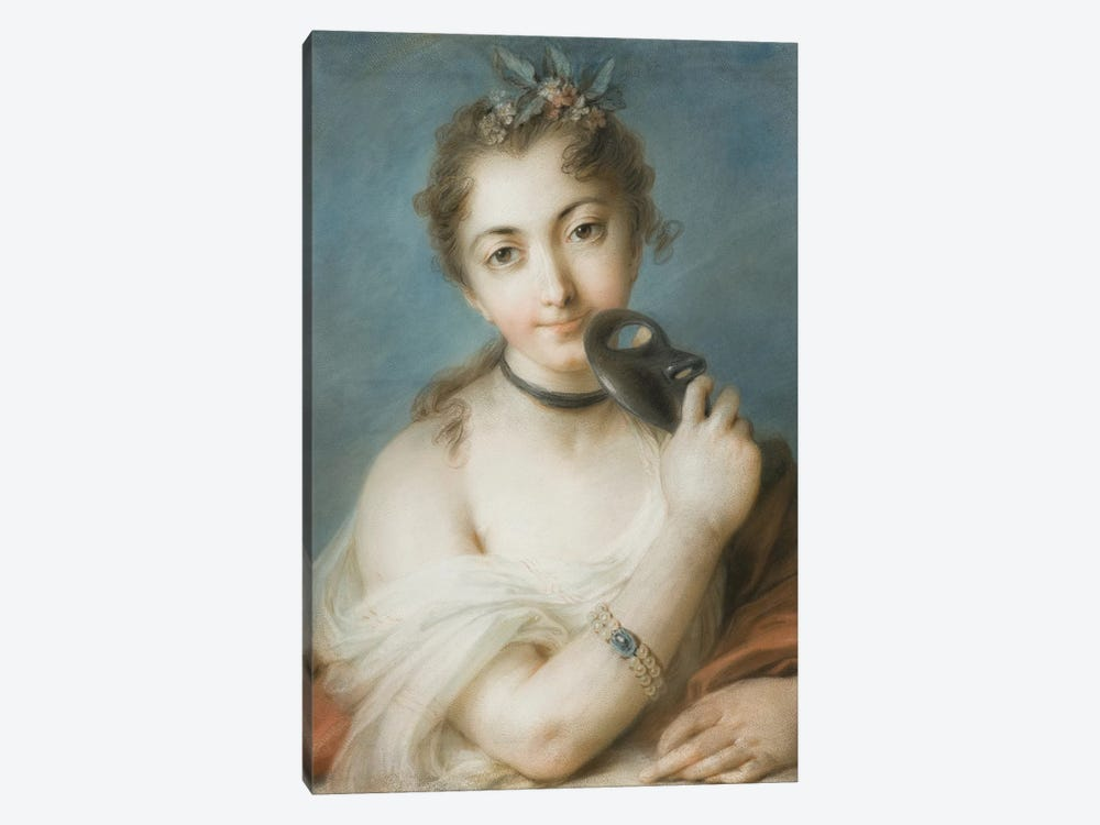 Portrait Of A Woman With Mask, c.1720-30 by Rosalba Giovanna Carriera 1-piece Canvas Artwork
