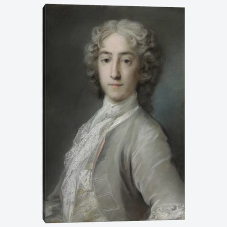 Portrait Of Lord Sidney Beauclerk In A Grey Velvet Coat And White Stock 3-Piece Canvas #BMN8129} by Rosalba Giovanna Carriera Canvas Print