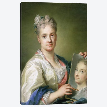 Self-Portrait Holiding A Portrait Of Her Sister, 1709 Canvas Print #BMN8131} by Rosalba Giovanna Carriera Canvas Artwork