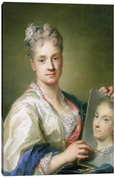 Self-Portrait Holiding A Portrait Of Her Sister, 1709 Canvas Art Print