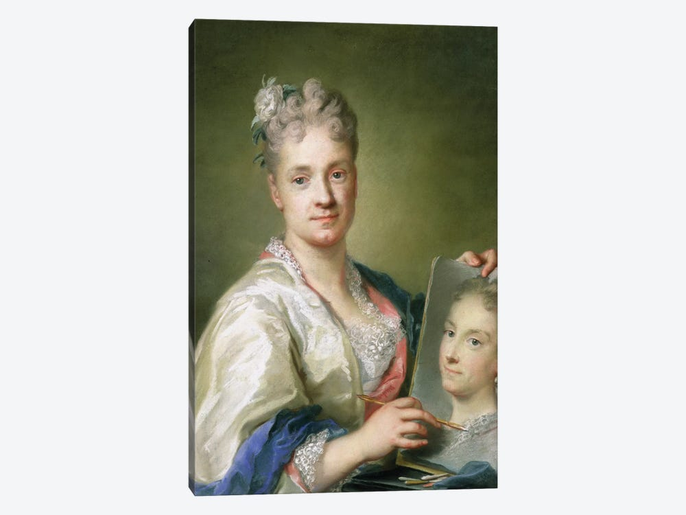 Self-Portrait Holiding A Portrait Of Her Sister, 1709 by Rosalba Giovanna Carriera 1-piece Canvas Art Print