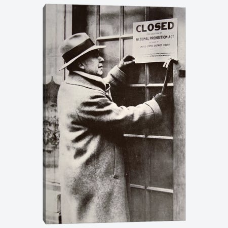 A US Federal Agent Closing A Saloon During Prohibition 3-Piece Canvas #BMN8134} by American Photographer Canvas Print