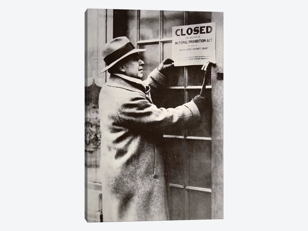 A US Federal Agent Closing A Saloon During Prohibition by American Photographer 1-piece Canvas Wall Art