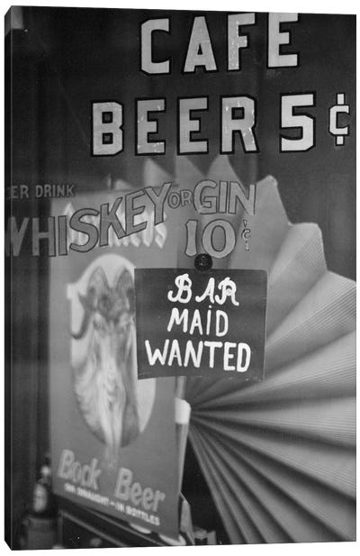 Bar Maid Wanted Canvas Art Print