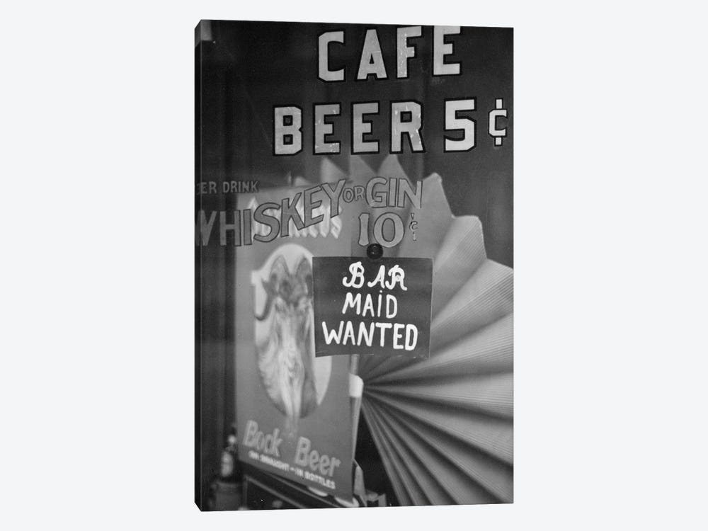 Bar Maid Wanted by American Photographer 1-piece Canvas Art Print