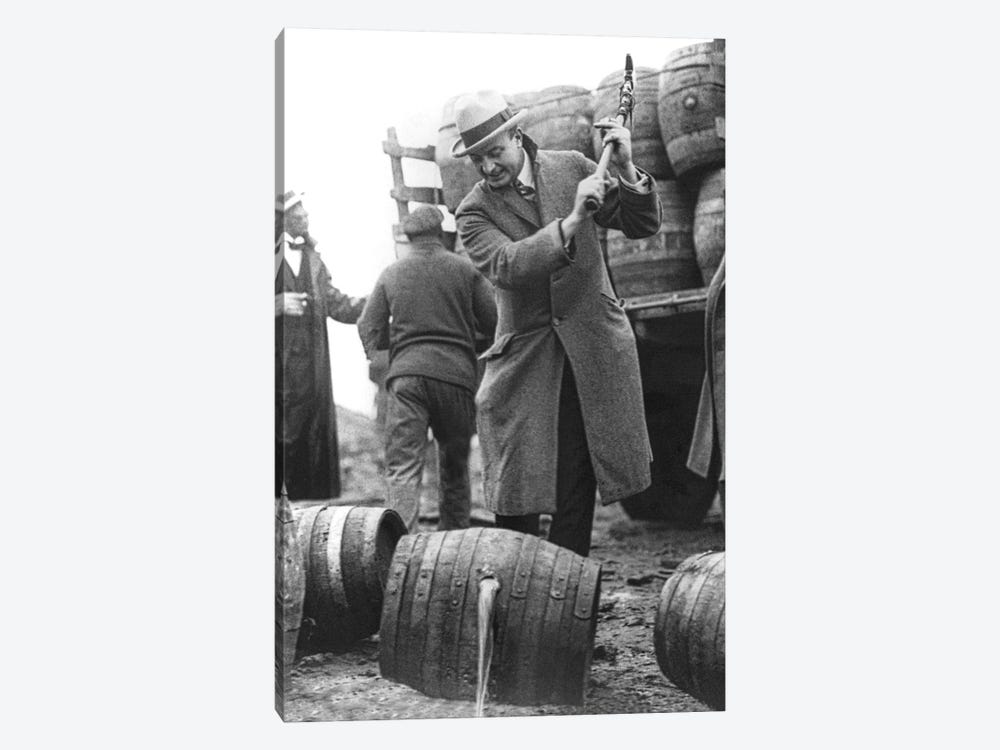 Destroying Barrels Of Beer by American Photographer 1-piece Canvas Wall Art