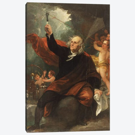 Sketch for 'Benjamin Franklin Drawing Electricity from the Sky', c.1816 Canvas Print #BMN8149} by Benjamin West Art Print
