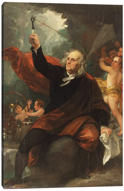 Sketch for 'Benjamin Franklin Drawing Electricity from the Sky', c.1816 Canvas Art Print
