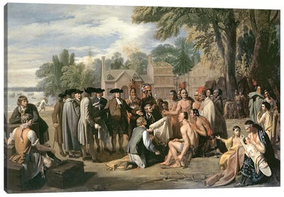 William Penn's Treaty with the Indians in November 1683, 1771-72 Canvas Art Print
