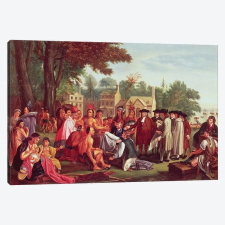 William Penn's treaty with the Indians, when he founded the province of Pennsylvania in North America, 1681 Canvas Print #BMN8158} by Benjamin West Canvas Art