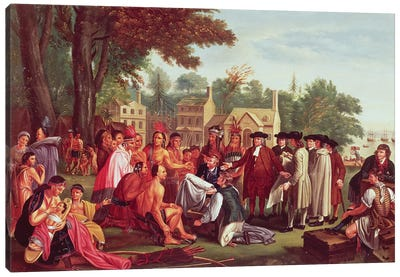 William Penn's treaty with the Indians, when he founded the province of Pennsylvania in North America, 1681 Canvas Art Print