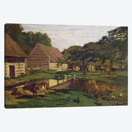 A Farmyard in Normandy, c.1863  Canvas Print #BMN815} by Claude Monet Canvas Art