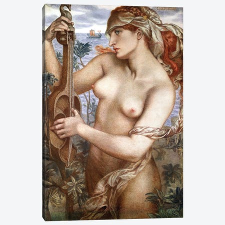 Ligeia Siren, 1873 Canvas Print #BMN8165} by Dante Gabriel Charles Rossetti Canvas Wall Art