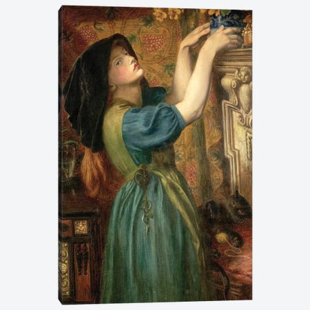 Marigolds (The Bower Maiden, Fleur-de-Marie), 1874 Canvas Print #BMN8166} by Dante Gabriel Charles Rossetti Canvas Wall Art