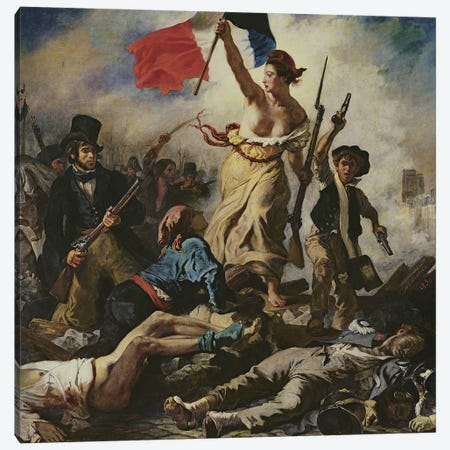 Liberty Leading the People, 28 July 1830, c.1830-31 Canvas Print #BMN8170} by Ferdinand Victor Eugene Delacroix Canvas Art