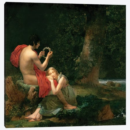 Daphnis and Chloe, 1824-25 Canvas Print #BMN8172} by Francois Pascal Simon Gerard Canvas Wall Art