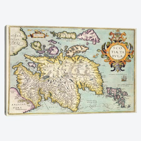 Map of Scotland, Miliaria Scotia Canvas Print #BMN817} Canvas Wall Art