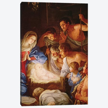 The Adoration of the Shepherds, detail of the group surrounding Jesus  Canvas Print #BMN8193} by Guido Reni Canvas Wall Art