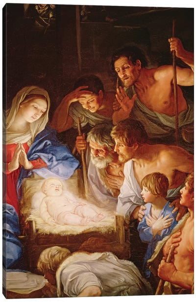 The Adoration of the Shepherds, detail of the group surrounding Jesus  Canvas Art Print
