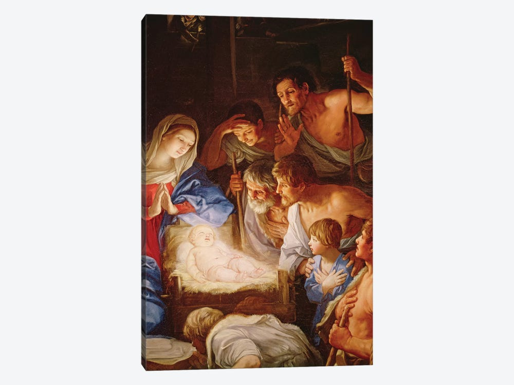 The Adoration of the Shepherds, detail of the group surrounding Jesus  by Guido Reni 1-piece Canvas Art Print