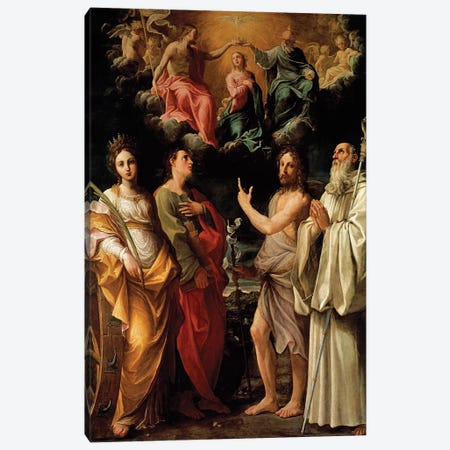 The Coronation of the Virgin with Four Saints (Catherine of Alexandria, John the Evangelist, John the Baptist and Bernard) Canvas Print #BMN8196} by Guido Reni Art Print