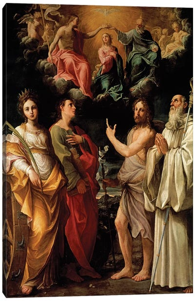 The Coronation of the Virgin with Four Saints (Catherine of Alexandria, John the Evangelist, John the Baptist and Bernard) Canvas Art Print