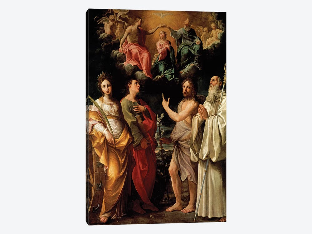 The Coronation of the Virgin with Four Saints (Catherine of Alexandria, John the Evangelist, John the Baptist and Bernard) by Guido Reni 1-piece Canvas Wall Art