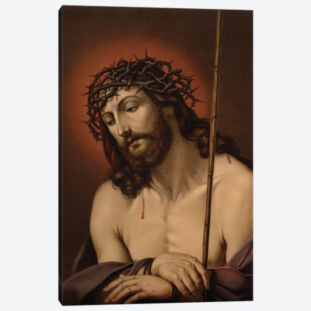The Suffering Redeemer (colour litho) Canvas Print #BMN8198} by Guido Reni Canvas Wall Art