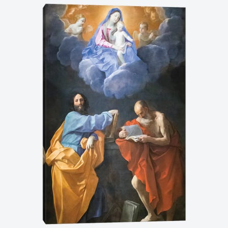 Virgin in Glory with Saints Thomas and Jerome  Canvas Print #BMN8199} by Guido Reni Canvas Art