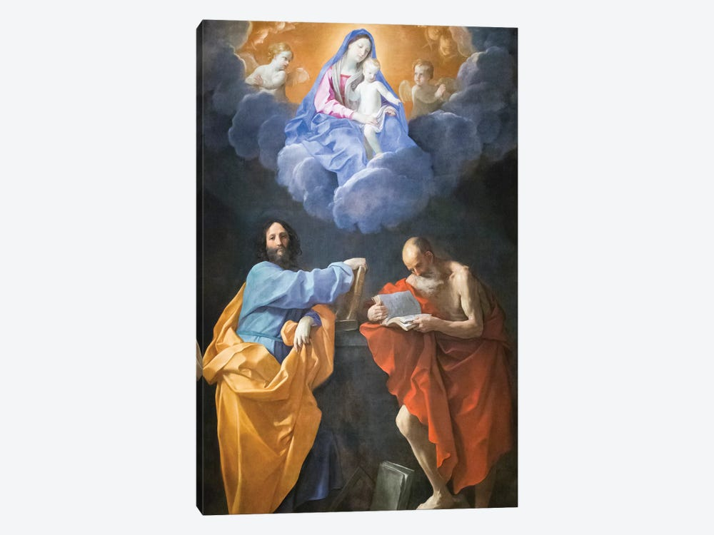 Virgin in Glory with Saints Thomas and Jerome  by Guido Reni 1-piece Canvas Art Print