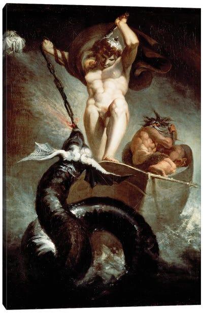 Thor Fighting Midgard Snake, 1788 Canvas Art Print