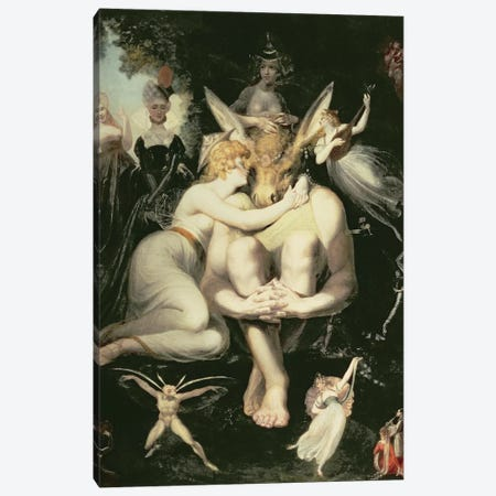 Titania Awakes, Surrounded by Attendant Fairies, clinging rapturously to Bottom, still wearing the Ass's Head, 1793-4 Canvas Print #BMN8203} by Henry Fuseli Canvas Artwork