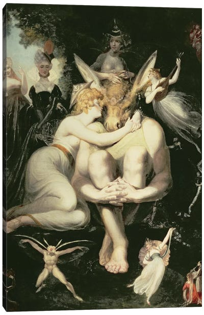 Titania Awakes, Surrounded by Attendant Fairies, clinging rapturously to Bottom, still wearing the Ass's Head, 1793-4 Canvas Art Print