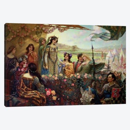 Lancelot and Guinevere Canvas Print #BMN8208} by Herbert James Draper Canvas Artwork