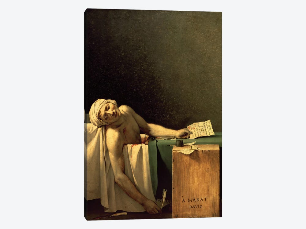 The Death of Marat, 1793  by Jacques-Louis David 1-piece Canvas Print