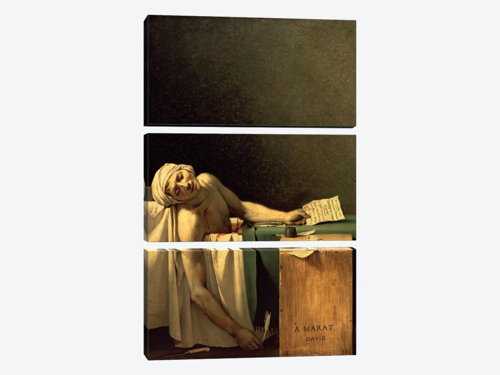 The Death of Marat, 1793  by Jacques-Louis David 3-piece Canvas Art Print