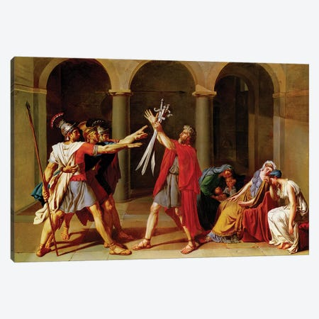 The Oath of the Horatii, c.1783 Canvas Print #BMN8217} by Jacques-Louis David Canvas Art