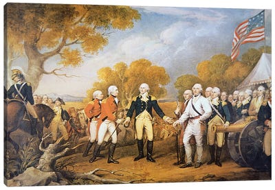 Surrender of General Burgoyne at Saratoga, New York, 17 October 1777 Canvas Art Print