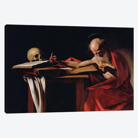 St Jerome Writing, c.1605  Canvas Print #BMN8228} by Michelangelo Merisi da Caravaggio Canvas Wall Art