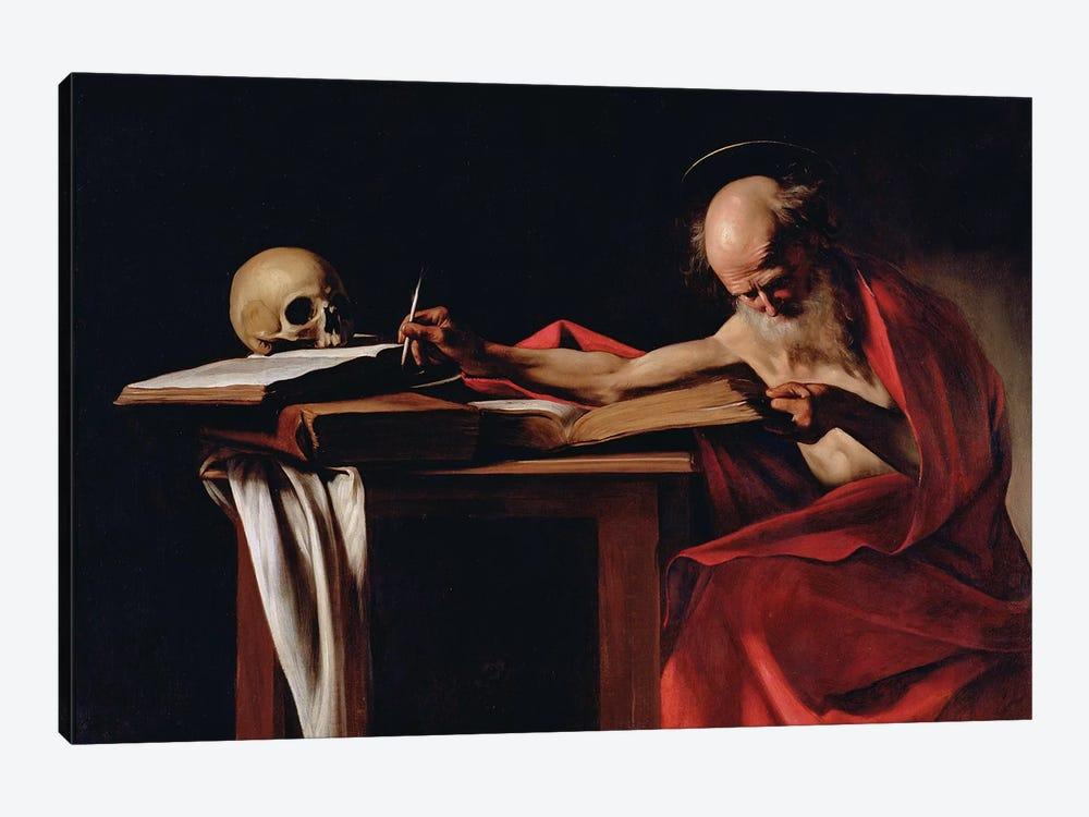 St Jerome Writing, c.1605  by Michelangelo Merisi da Caravaggio 1-piece Canvas Print
