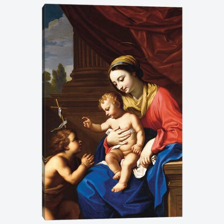 The Virgin and Child with St. John the Baptist, 1650  Canvas Print #BMN8229} by Nicolas Mignard Canvas Art