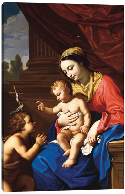 The Virgin and Child with St. John the Baptist, 1650  Canvas Art Print
