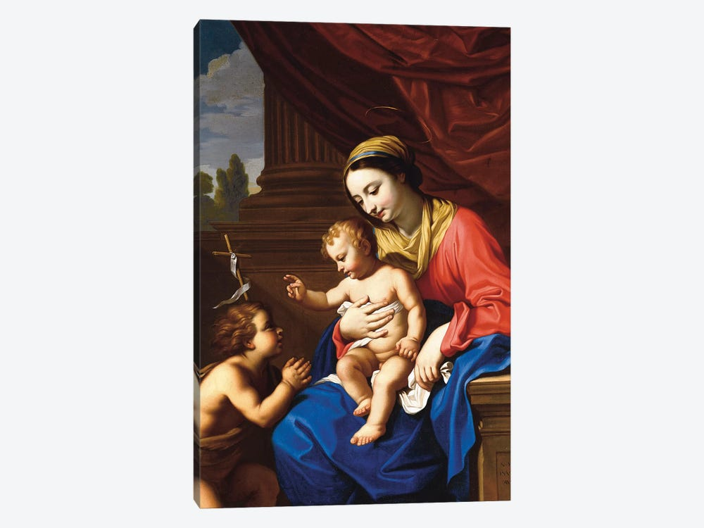 The Virgin and Child with St. John the Baptist, 1650  by Nicolas Mignard 1-piece Canvas Art