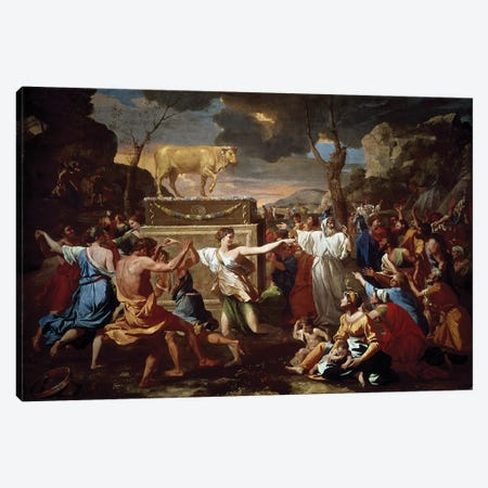 Adoration of the golden calf, 1633-1634.  Canvas Print #BMN8230} by Nicolas Poussin Art Print