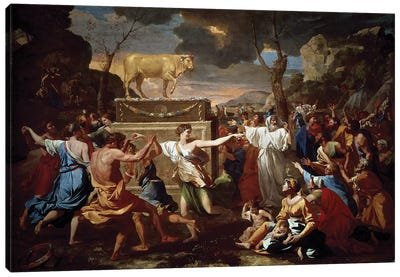 Adoration of the golden calf, 1633-1634.  Canvas Art Print