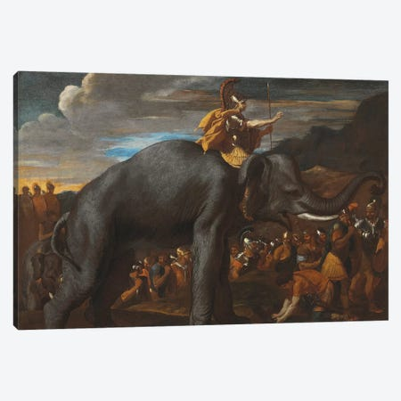 Hannibal Crossing the Alps on an Elephant  Canvas Print #BMN8232} by Nicolas Poussin Canvas Print