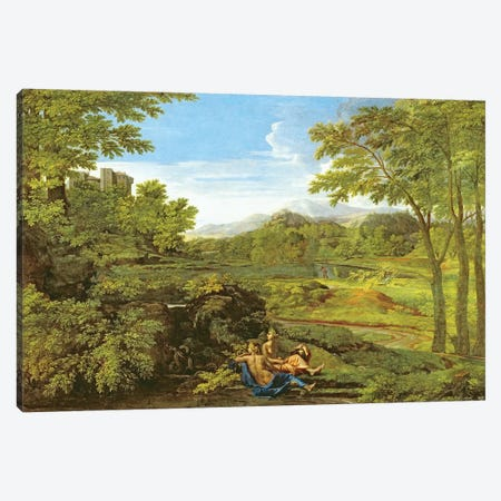 Landscape with Two Nymphs, 1659  Canvas Print #BMN8235} by Nicolas Poussin Canvas Wall Art